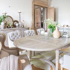 Fauteuil de table en tissu lin beige - Joseph