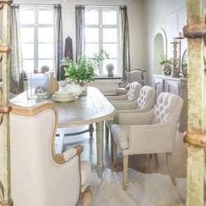 Fauteuil de table en tissu lin beige - Joseph - Visuel n°6