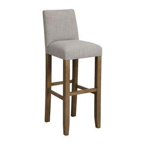 Chaise haute en tissu lin beige et frêne - Visuel n°2