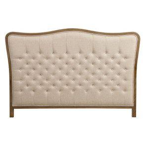 Tête de lit capitonnée 180 en frêne et tissu beige - Joséphine