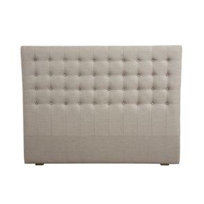 Tête de lit capitonnée 140/160 cm en frêne et tissu beige - Capucine