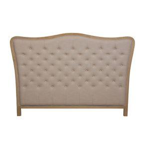 Tête de lit capitonnée 160 en frêne et tissu beige - Joséphine