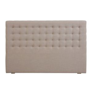 Tête de lit capitonnée 180 en frêne et en tissu beige - Capucine