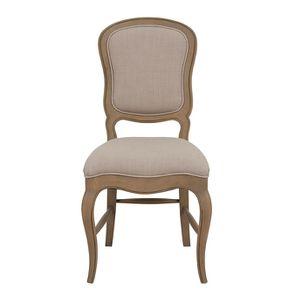 Chaise en hévéa massif et tissu beige - Éléonore