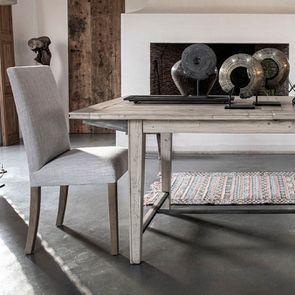 Chaise en frêne massif et tissu beige - Romane - Visuel n°3