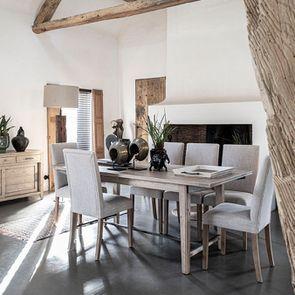 Chaise en frêne massif et tissu beige - Romane - Visuel n°5