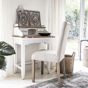 Chaise capitonnée en tissu beige et frêne - Albane - Visuel n°12