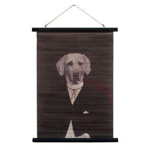 Toile décorative en lin imprimé chien