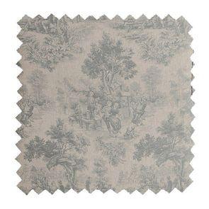 Tissu au mètre bleu/gris motif toile de jouy