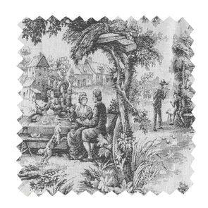 Tissu au mètre toile de Jouy gris anthracite