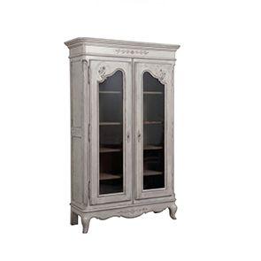 Vitrine grise 2 portes en pin massif - Château