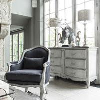 Commode 6 tiroirs en pin gris argenté L150 cm - Château