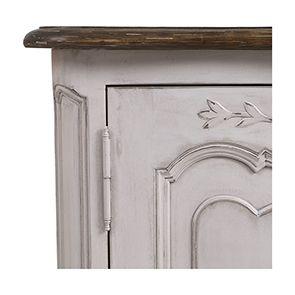 Buffet bas 2 portes en pin blanc opaline vieilli - Château - Visuel n°2