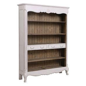 Bibliothèque ouverte en pin blanc opaline vieilli - Château
