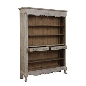Bibliothèque 2 tiroirs en pin gris argenté - Château - Visuel n°2