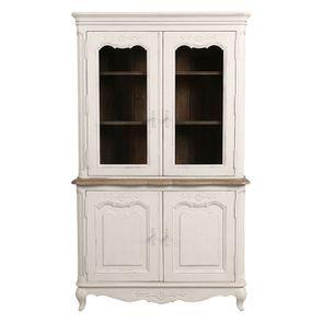 Buffet vaisselier 2 portes vitrées en pin blanc vieilli - Château