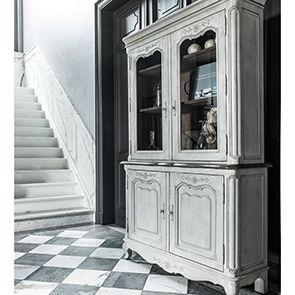 Buffet vaisselier 2 portes vitrées en pin gris argenté - Château - Visuel n°2