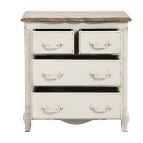 Commode 4 tiroirs en pin blanc vieilli - Château - Visuel n°2