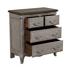 Commode 4 tiroirs en pin gris argenté L77 cm - Château - Visuel n°2