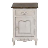 Table de chevet 1 porte 1 tiroir en pin blanc - Château