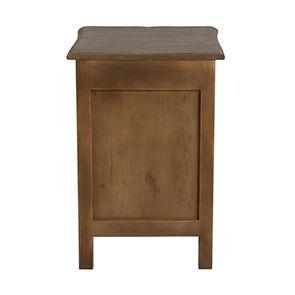 Table de chevet 1 porte 1 tiroir en pin gris argenté - Château - Visuel n°6