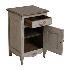 Table de chevet 1 porte 1 tiroir en pin gris argenté - Château - Visuel n°4
