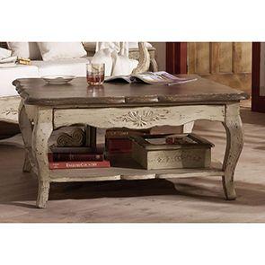 Table basse carrée en pin avec rangement - Château