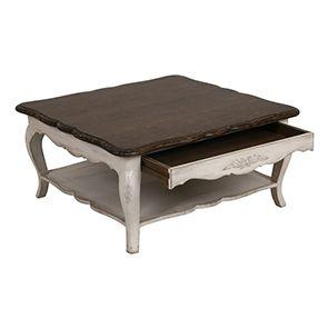 Table basse blanche carrée en pin avec rangement - Château - Visuel n°4