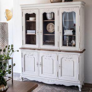 Buffet vaisselier 3 portes vitrées en pin blanc vieilli - Château