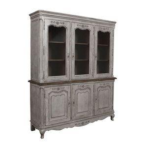Buffet vaisselier 3 portes vitrées en pin gris argenté - Château - Visuel n°2