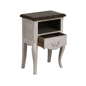 Table de chevet 1 tiroir en pin blanc opaline vieilli - Château - Visuel n°2