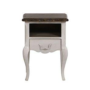 Table de chevet 1 tiroir en pin blanc opaline vieilli - Château - Visuel n°3