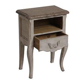 Table de chevet 1 tiroir en pin gris argenté - Château - Visuel n°4