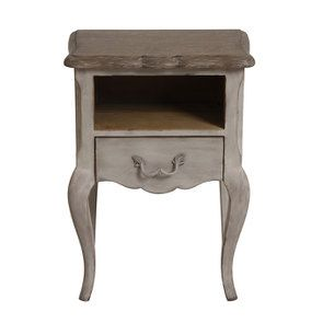 Table de chevet 1 tiroir en pin gris argenté - Château