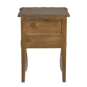 Table de chevet 1 tiroir en pin gris argenté - Château - Visuel n°5