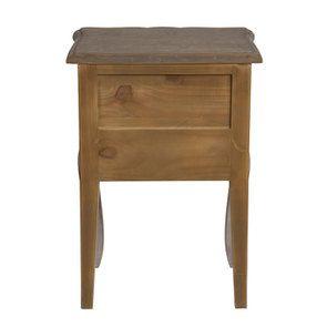 Table de chevet 1 tiroir en pin gris argenté - Château - Visuel n°6