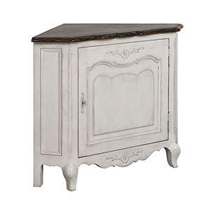 Encoignure basse en bois blanc opaline vieilli - Château - Visuel n°1