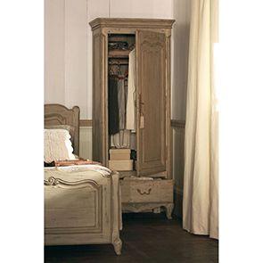 Armoire penderie bonnetière 1 porte en pin massif - Château