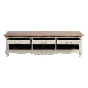 Meuble TV blanc 3 tiroirs en pin massif - Château - Visuel n°2