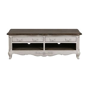 Meuble TV 2 tiroirs en pin  blanc opaline vieilli – Château
