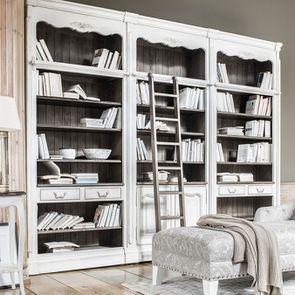 Bibliothèque blanche modulable 2 tiroirs en pin - Château