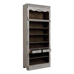 Bibliothèque modulable 2 tiroirs en pin gris argenté - Château - Visuel n°2