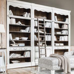 Bibliothèque blanche modulable 2 portes en pin - Château