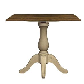 Table carrée 2/4 personnes en pin grège vieilli - Château