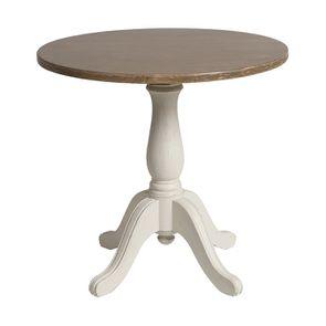 Table ronde en pin massif blanc vieilli 2 personnes - Château