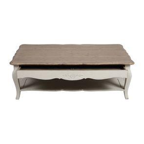 Table basse rectangulaire en pin blanc vieilli avec rangement - Château - Visuel n°2