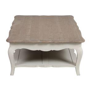 Table basse rectangulaire en pin blanc vieilli avec rangement - Château - Visuel n°5