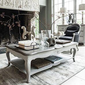 Table basse rectangulaire en pin gris argenté avec rangement - Château