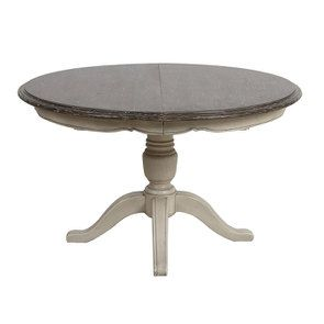 Table ronde extensible en pin grège vieilli 6 à 8 couverts - Château