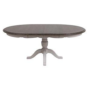 Table ronde extensible en pin blanc opaline vieilli 8 personnes - Château - Visuel n°6